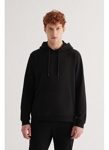 Avva E001008 Kapüşonlu Yaka Düz Sweatshirt E001008 Siyah